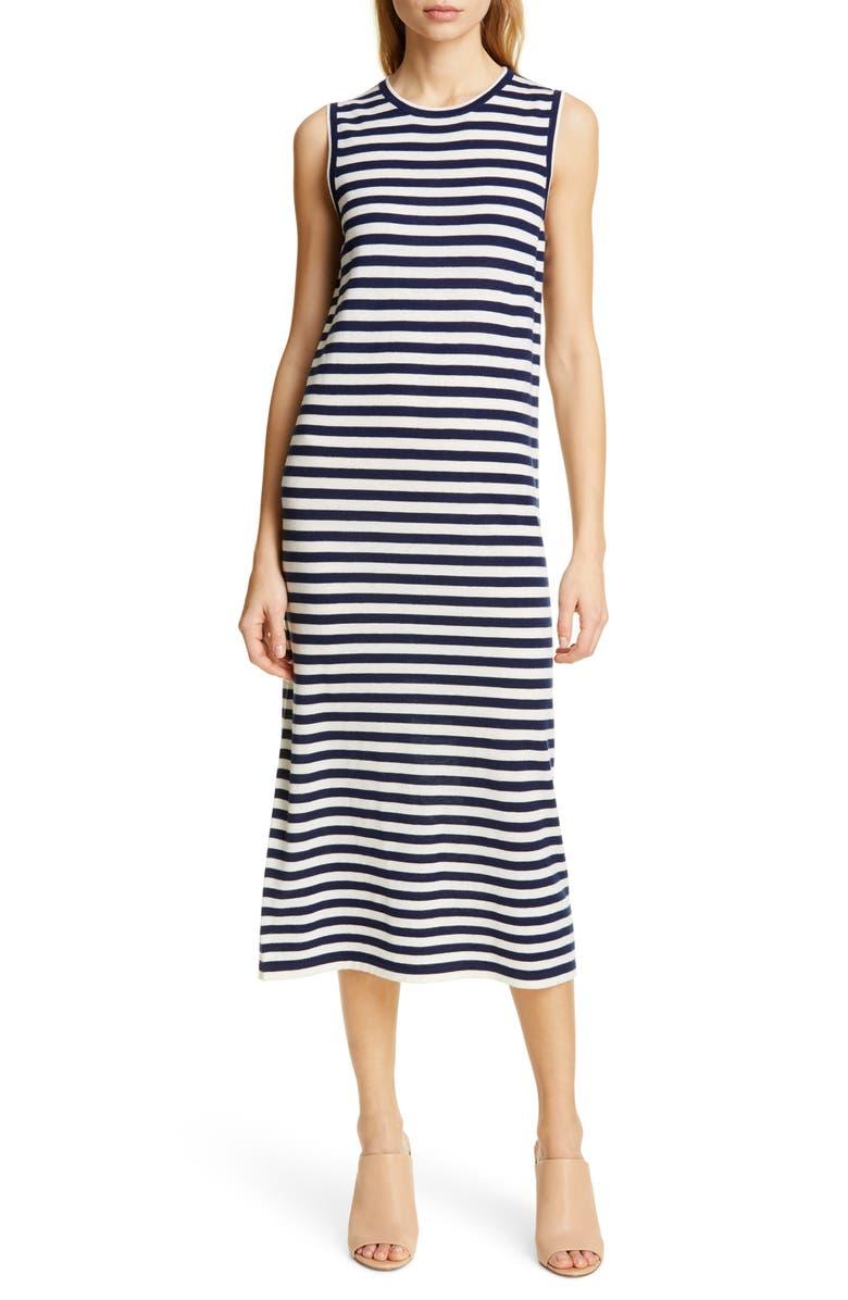 JENNI KAYNE Stripe Sleeveless Merino Wool Midi Dress, Main, color, NAVY/ WHITE