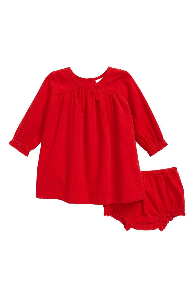 NORDSTROM Corduroy Shift Dress, Main, color, RED GOJI