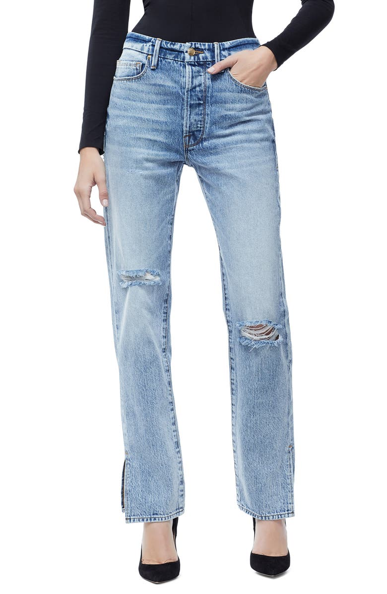GOOD AMERICAN Good Boy High Rise Ripped Boyfriend Jeans, Main, color, BLUE 177