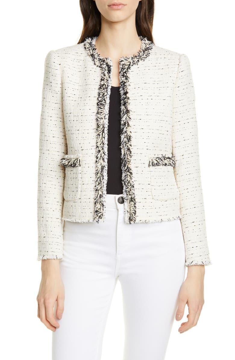 REBECCA TAYLOR Fringe Detail Cotton Blend Tweed Jacket, Main, color, CREAM/ BLACK