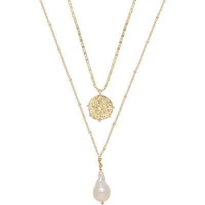 Ettika Set Of 2 Pearl & Coin Necklaces