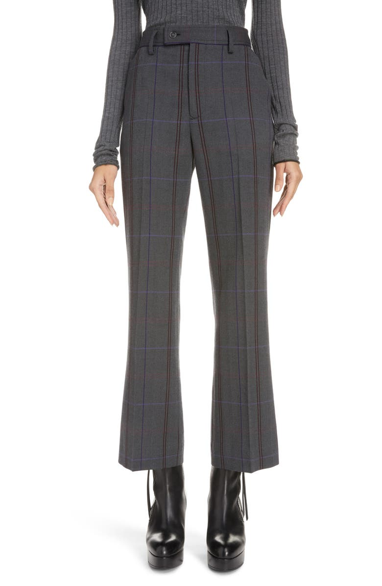 ACNE STUDIOS Patsyne Plaid Wool Blend Suit Trousers, Main, color, GREY/ PURPLE