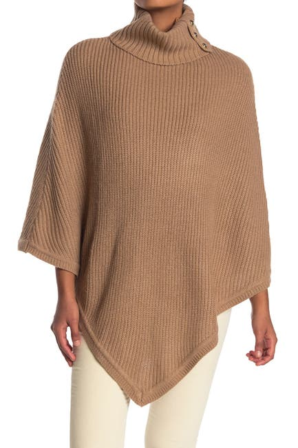 Image of MICHAEL Michael Kors Shaker Ribbed Turtleneck Poncho