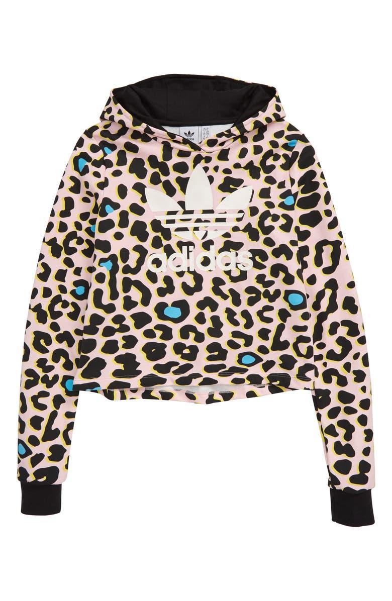 ADIDAS ORIGINALS Leopard Print Hoodie, Main, color, PINK
