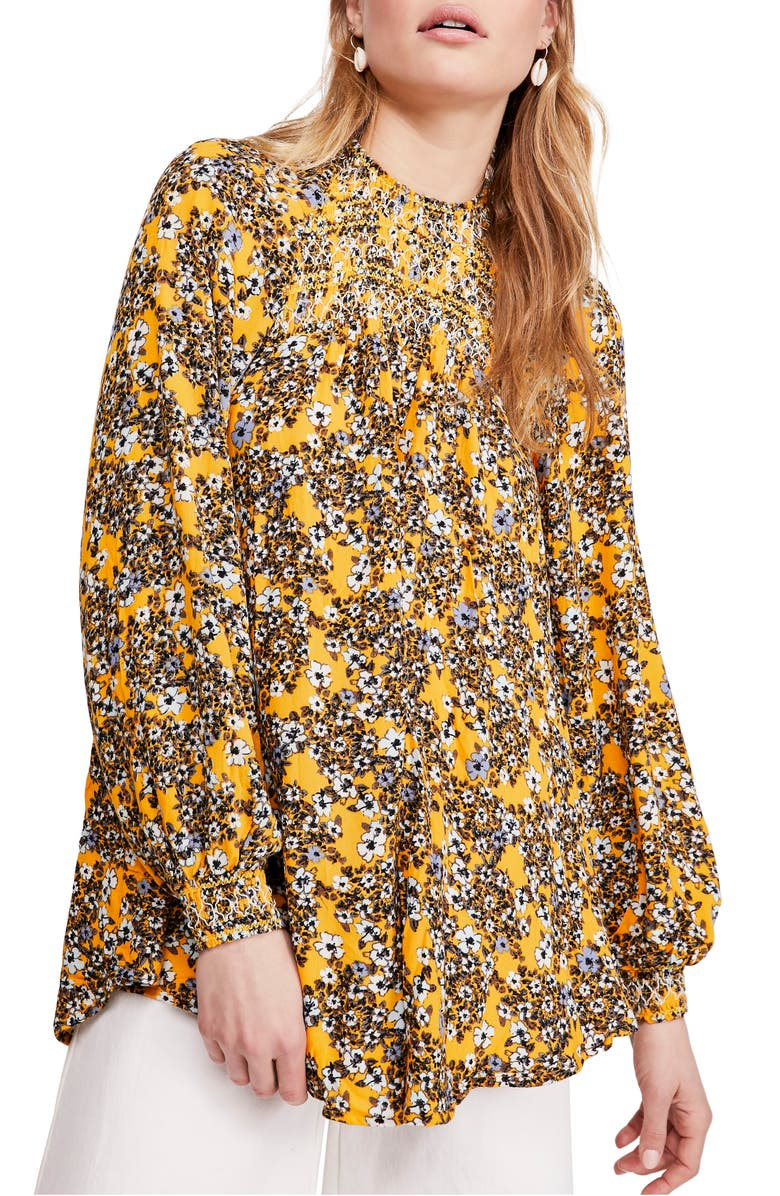 FREE PEOPLE Flowers in Her Hair Smock Detail Tunic Top, Main, color, YELLOW COMBO