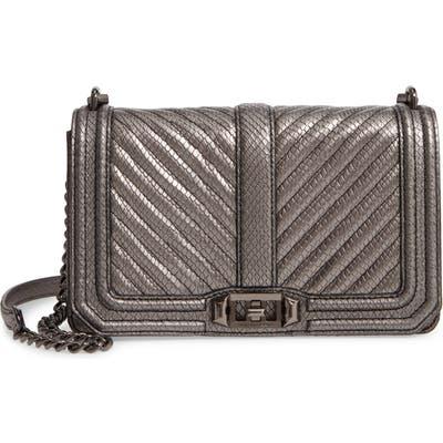 Rebecca Minkoff Chevron Quilted Love Leather Crossbody Bag - Metallic