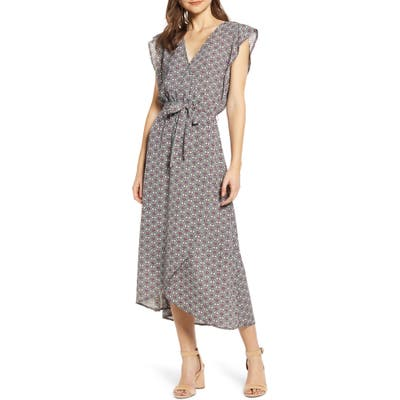 Bishop + Young Mosaic Flutter Sleeve Faux Wrap Dress, Green