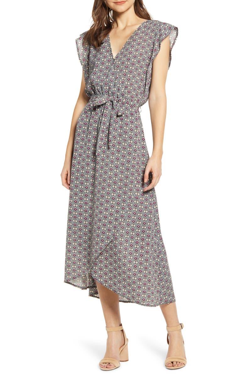 BISHOP + YOUNG Mosaic Flutter Sleeve Faux Wrap Dress, Main, color, MOSAIC PRINT