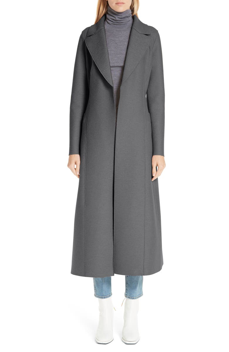 HARRIS WHARF LONDON Long Wool Duster Coat, Main, color, GREY MOULINE