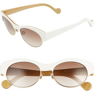 Moncler 5m Round Sunglasses - White/ Brown/ Gold