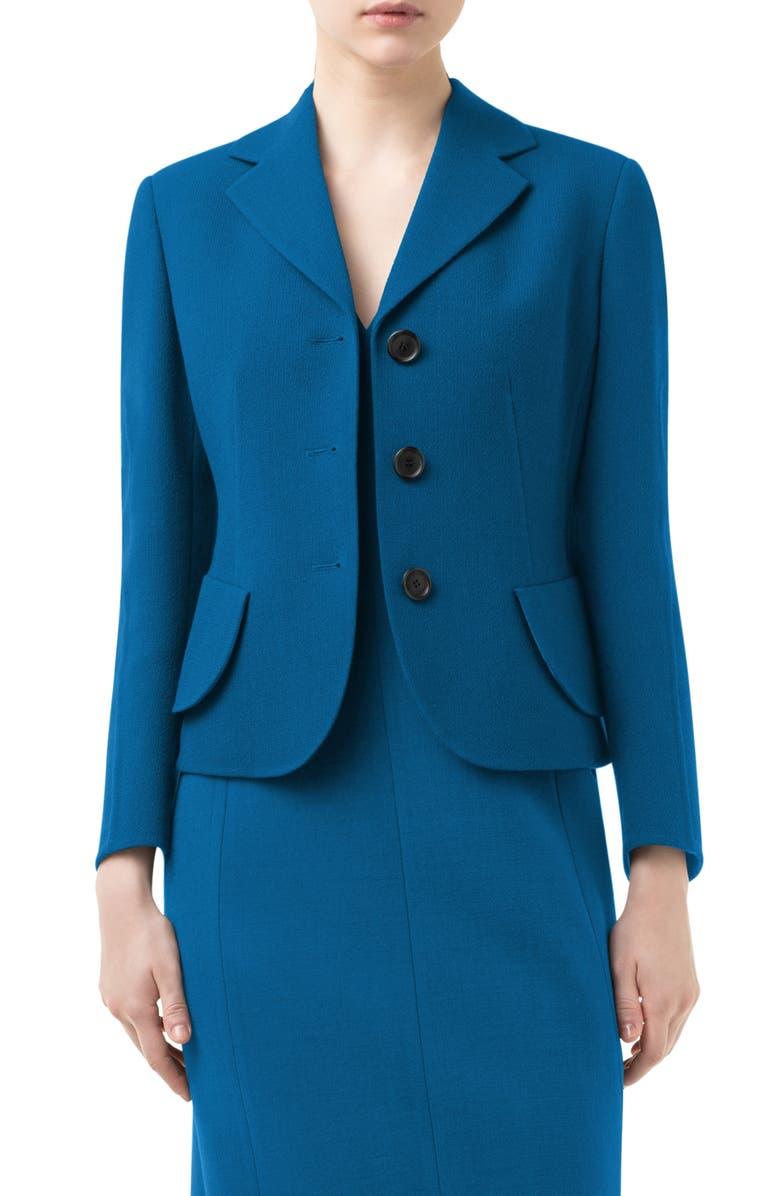 AKRIS Lausanne Crop Double Face Virgin Wool Jacket, Main, color, CYAN