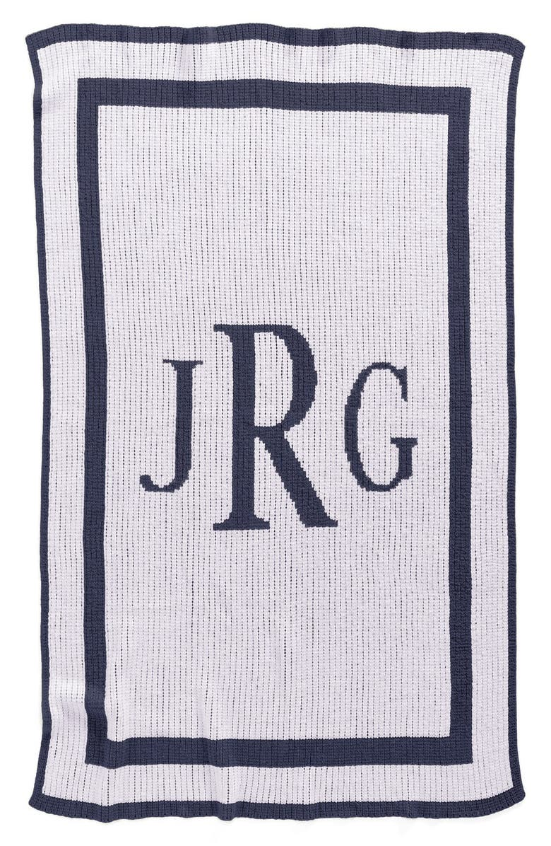 BUTTERSCOTCH BLANKEES 'Classic Monogram' Personalized Stroller Blanket, Main, color, WHITE/ NAVY