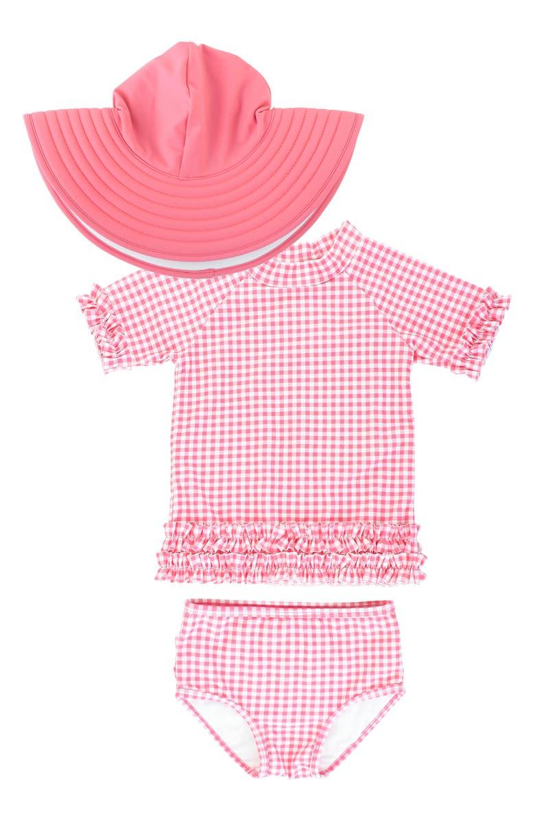 RUFFLEBUTTS Gingham Two-Piece Rashguard Swimsuit & Reversible Sun Hat Set, Main, color, PINK