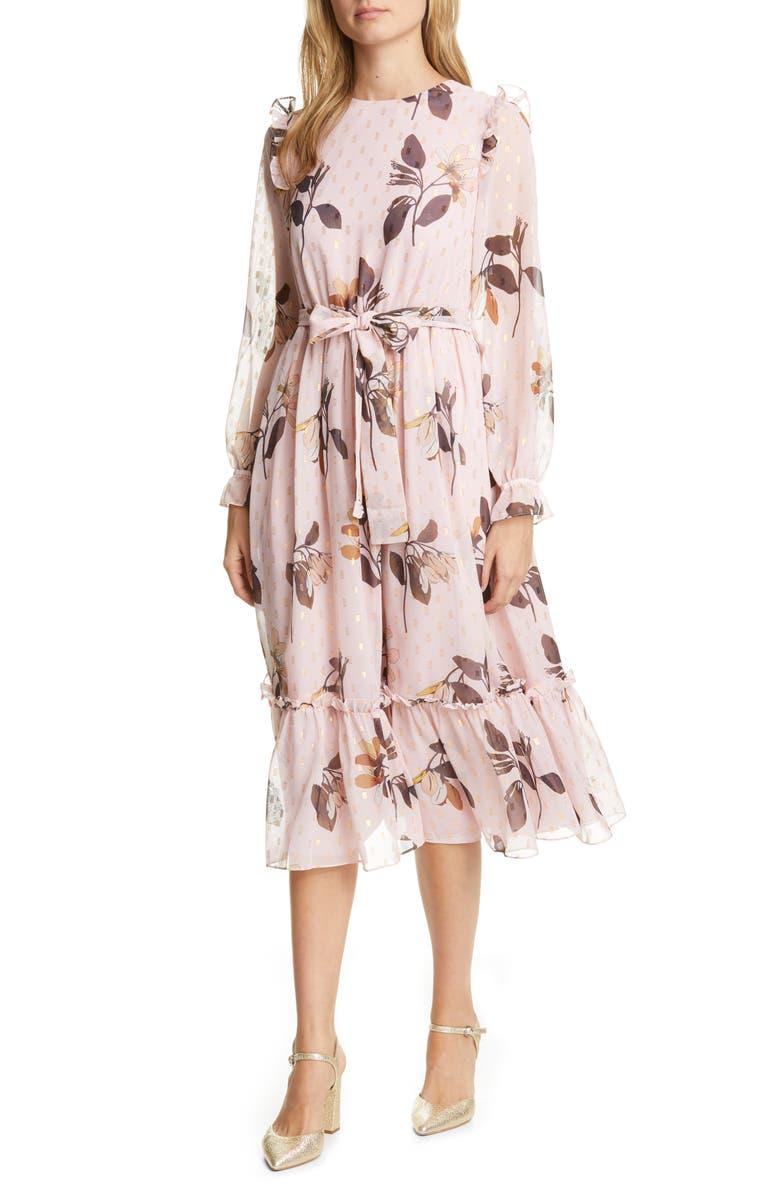 TED BAKER LONDON Elektra Savanna Long Sleeve Dress, Main, color, PALE PINK