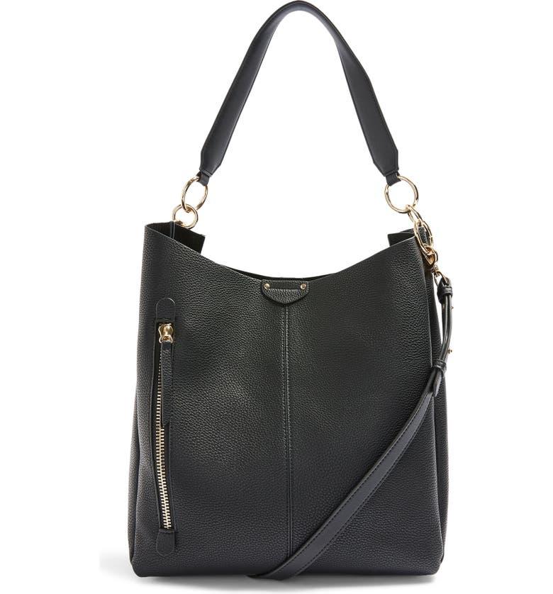 TOPSHOP Hugo Zip Faux Leather Hobo Bag, Main, color, BLACK