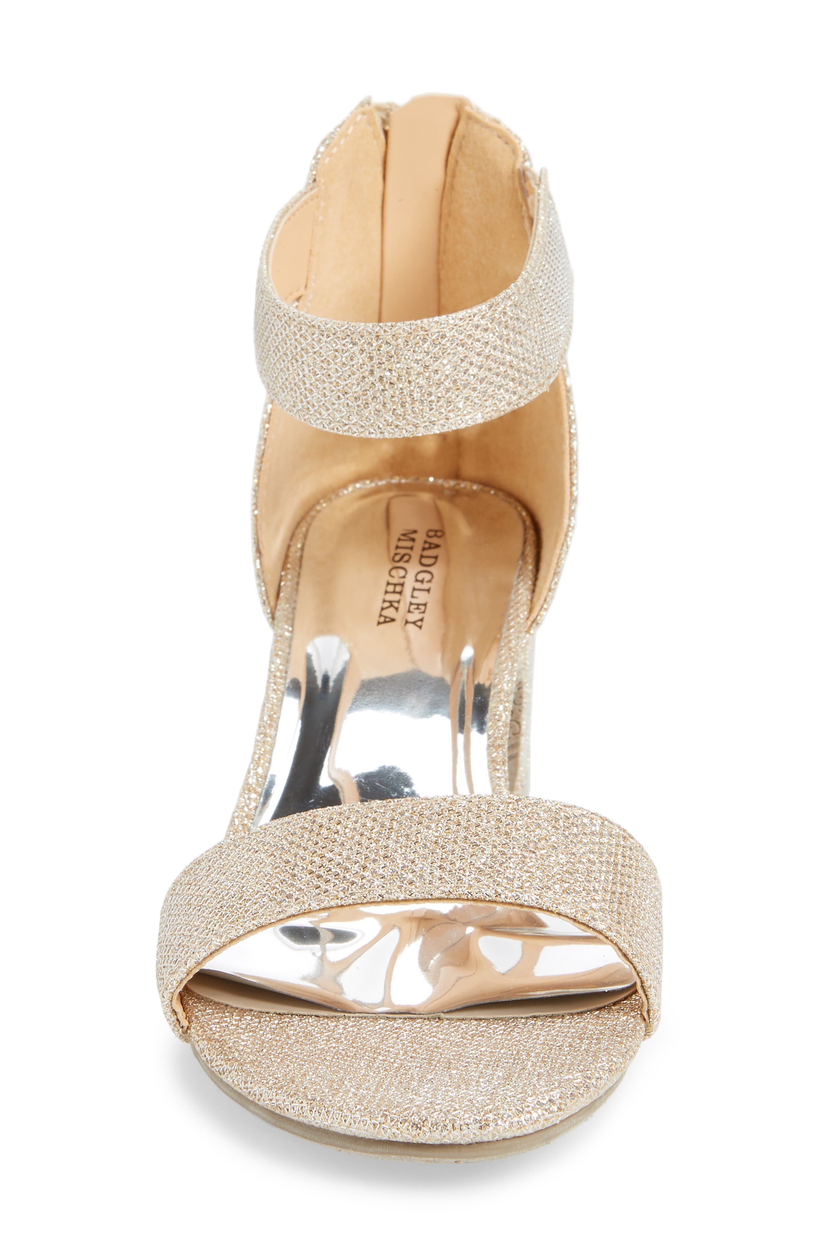 ,                             Badgley Mischka Pernia Velma Shimmer Sandal,                             Alternate thumbnail 4, color,                             LIGHT GOLD SHIMMER