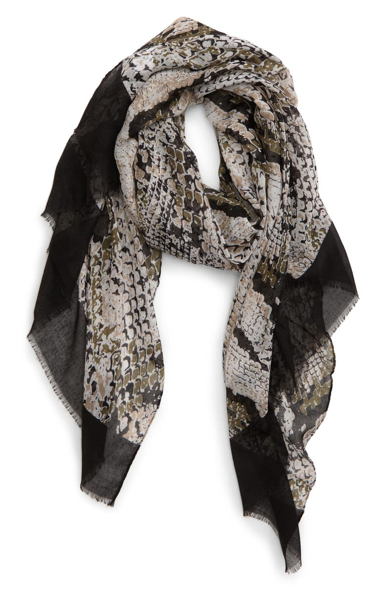 SOLE SOCIETY Snakeskin Print Scarf, Main, color, 007