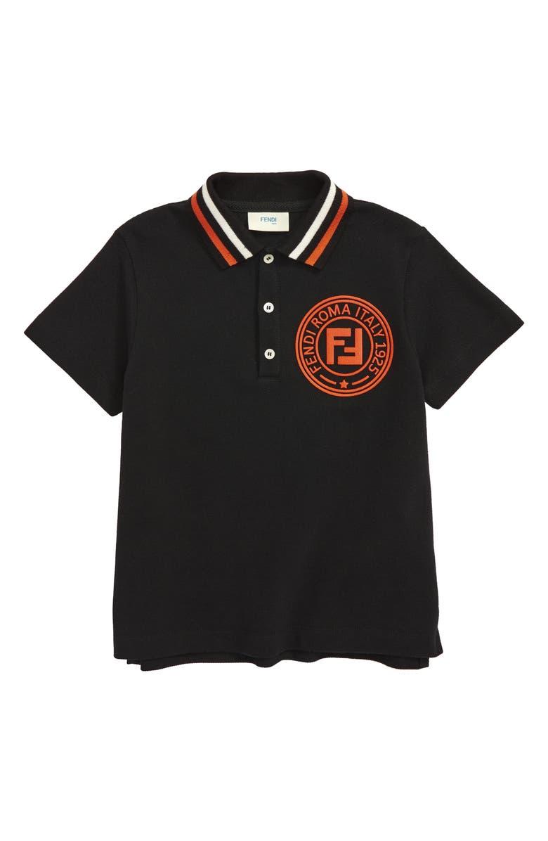 FENDI Logo Polo, Main, color, BLACK