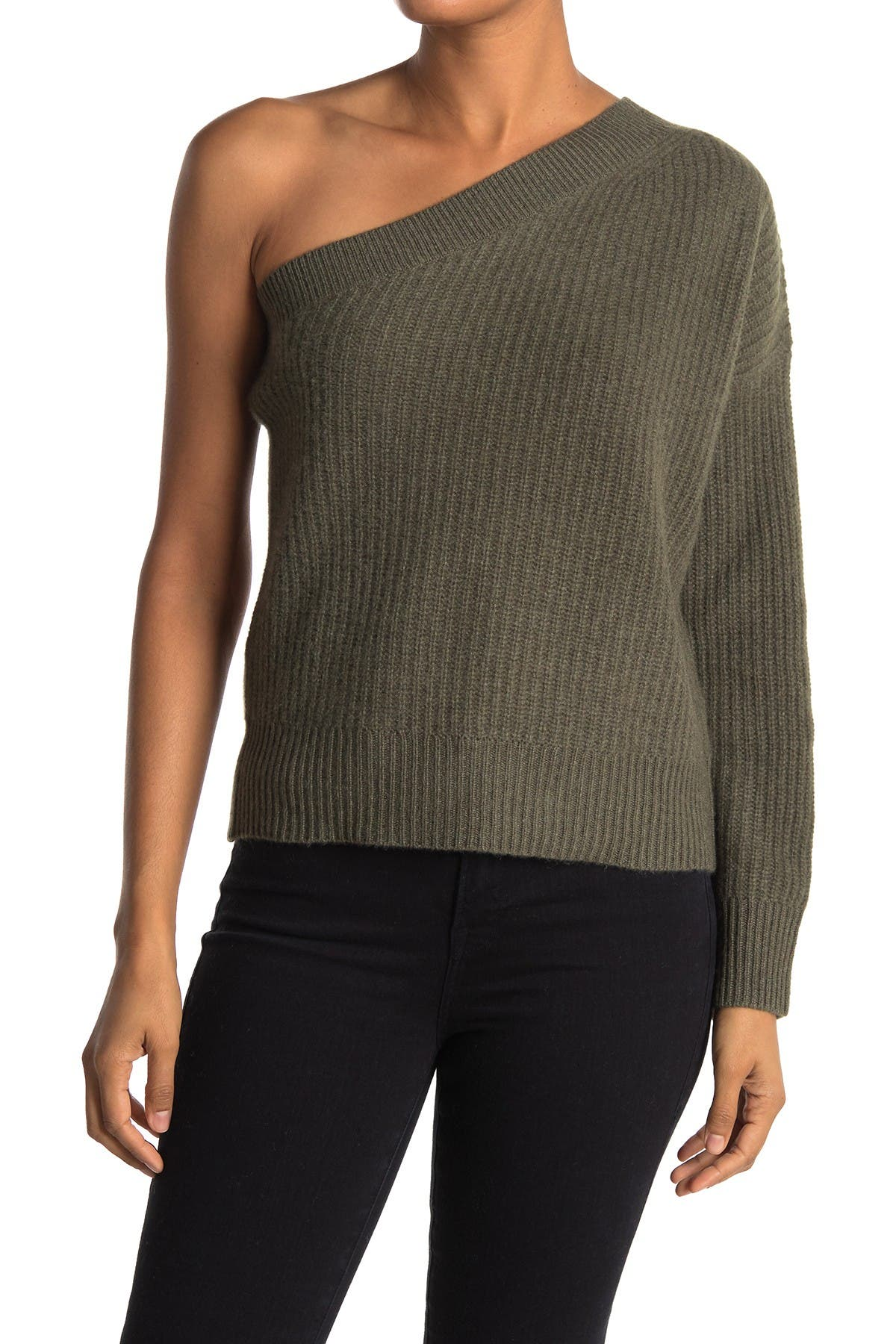 Image of 360 Cashmere Lena One Shoulder Cashmere Sweater