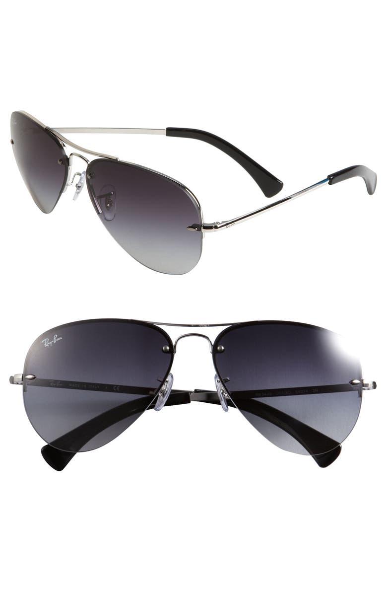 RAY-BAN 59mm Gradient Aviator Sunglasses, Main, color, SILVER