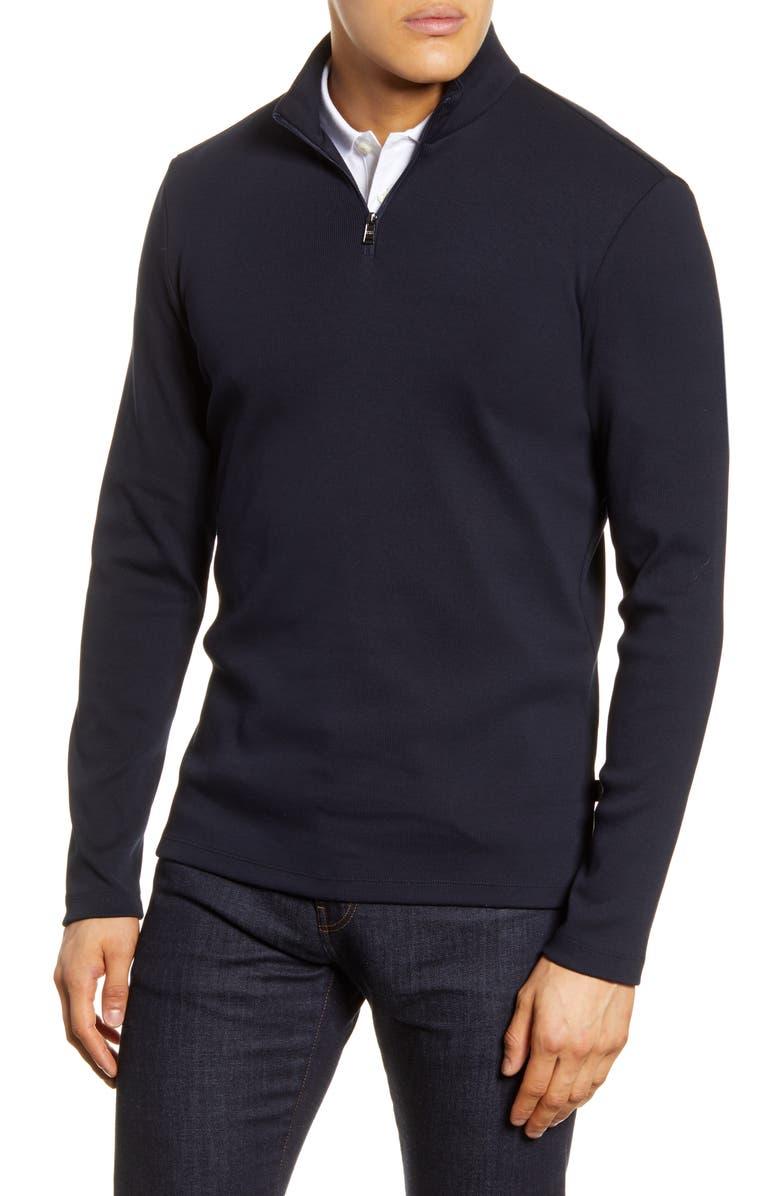 BOSS Tenore Slim Fit Quarter Zip Pullover, Main, color, 402