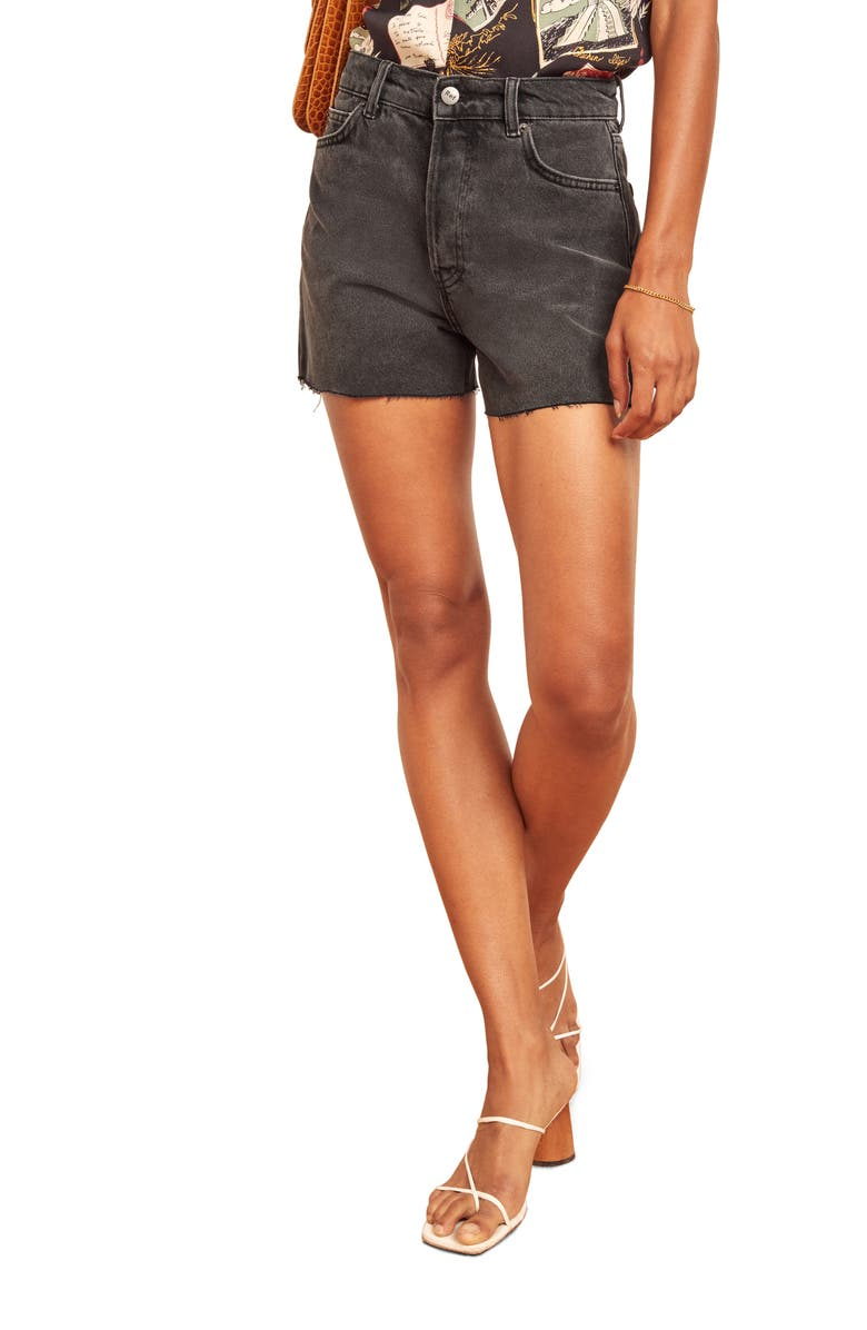 REFORMATION Dixie High Waist Cutoff Denim Shorts, Main, color, SEINE