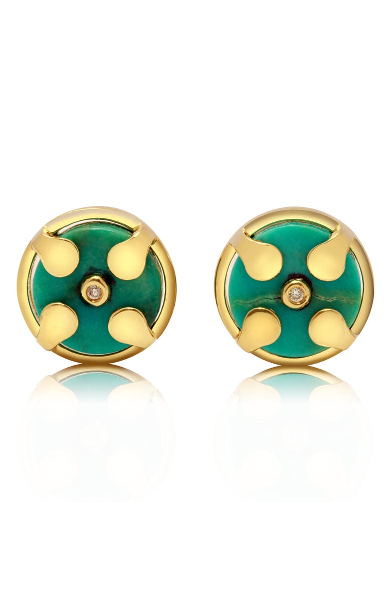 Cong S Truth Balance Natural Turquoise Stud Earrings