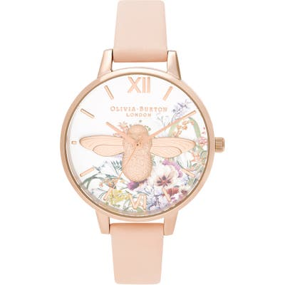 Olivia Burton Enchanted Garden Leather Strap Watch,