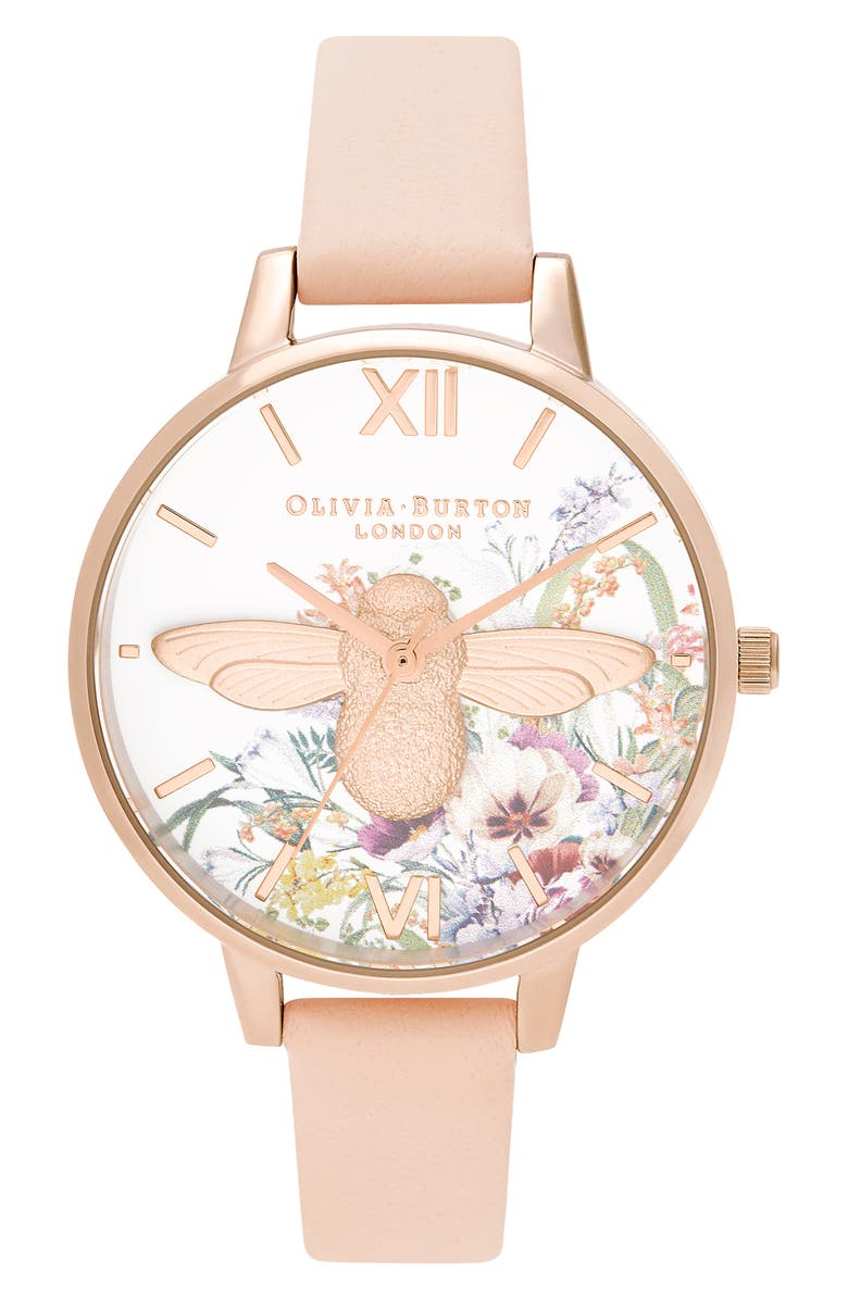OLIVIA BURTON Enchanted Garden Leather Strap Watch, 38mm, Main, color, PEACH/ WHITE FLORAL/ ROSE GOLD