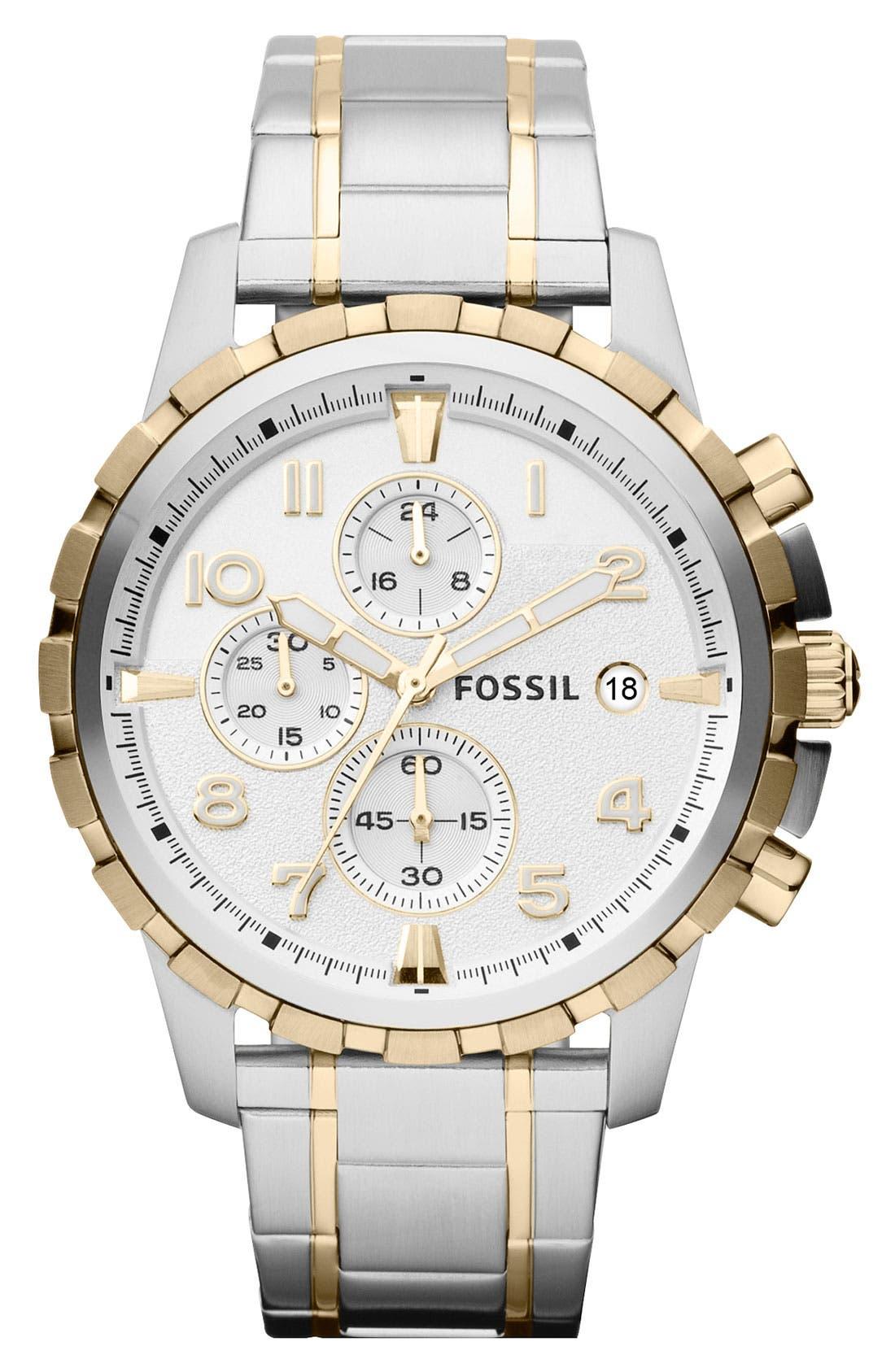 ,                             Notched Bezel Chronograph Bracelet Watch, 45mm,                             Main thumbnail 7, color,                             041