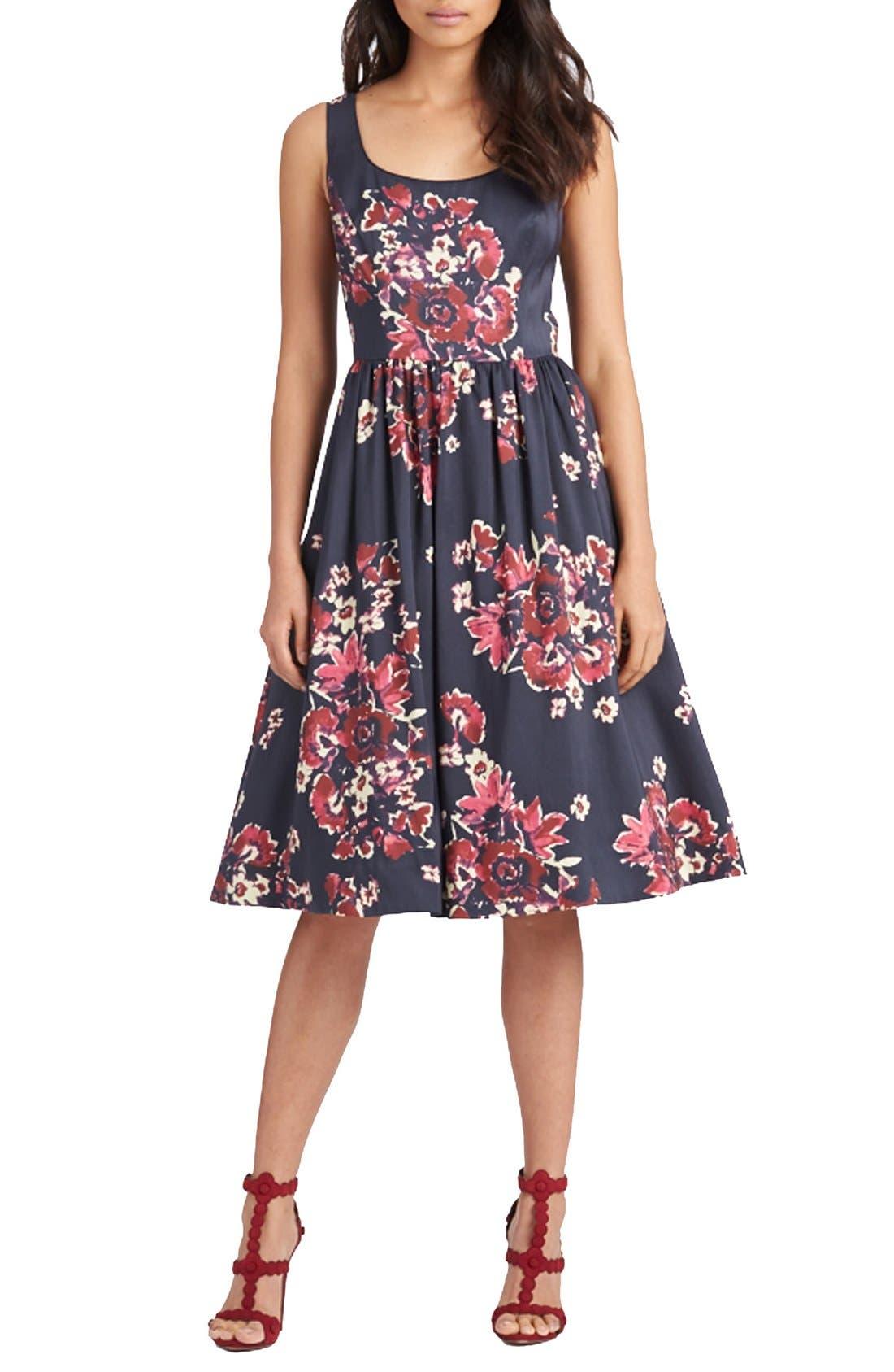,                             Print Cotton Blend Midi Dress,                             Main thumbnail 1, color,                             400