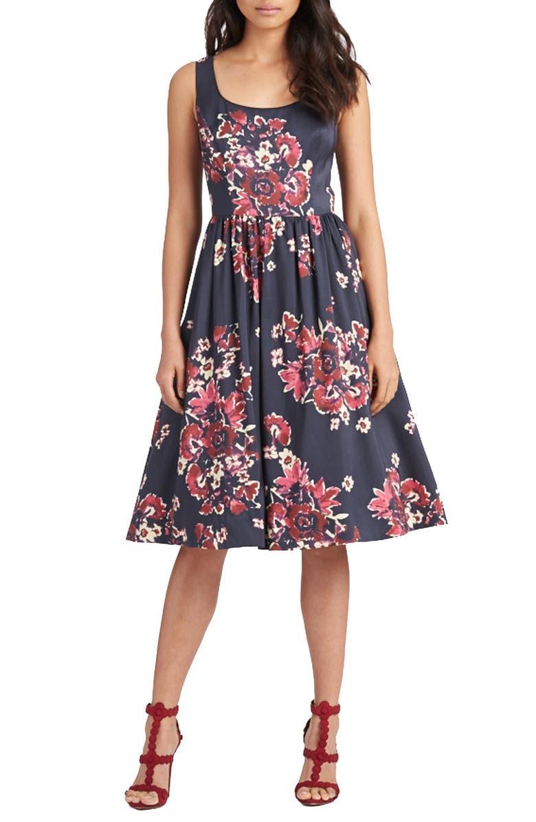 DONNA MORGAN Print Cotton Blend Midi Dress, Main, color, 400