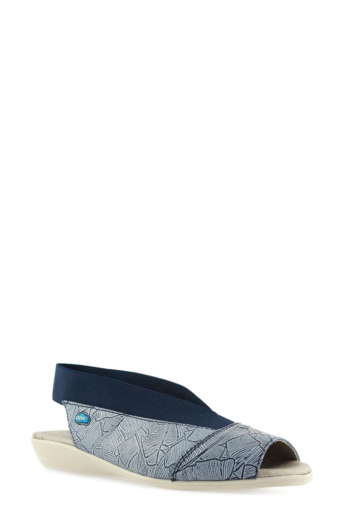 'Caliber' Peep Toe Leather Sandal