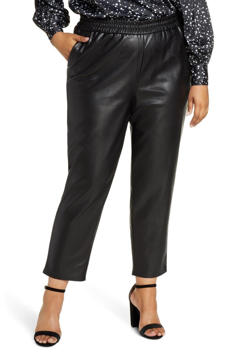 ELOQUII R29 x ELOQUII Faux Leather Jogger Pants, Main, color, 001