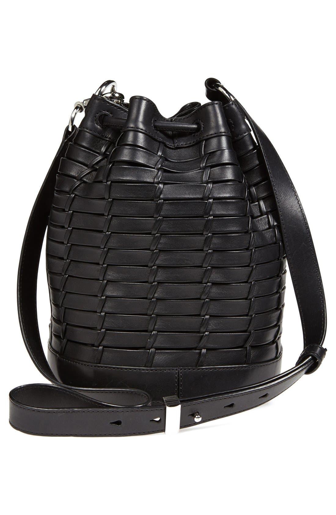 ,                             'Alpha' Woven Leather Bucket Bag,                             Alternate thumbnail 2, color,                             001