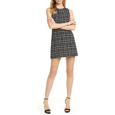 Alice + Olivia Coley Plaid Tweed A-Line Dress, Black