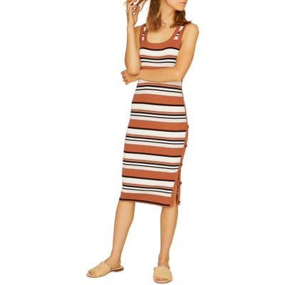 Sanctuary Sheyna Side Button Bodycon Cotton Blend Sweater Dress, Brown