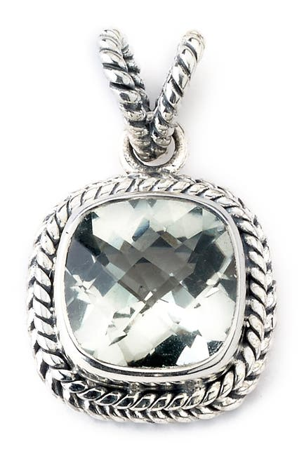 Image of Samuel B Jewelry Sterling Silver Cushion Cut Green Amethyst Twisted Design Pendant