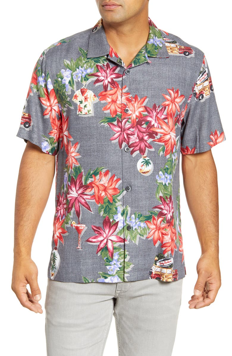 TOMMY BAHAMA Poinsettia Holiday Short Sleeve Silk Button-Up Camp Shirt, Main, color, BLACK