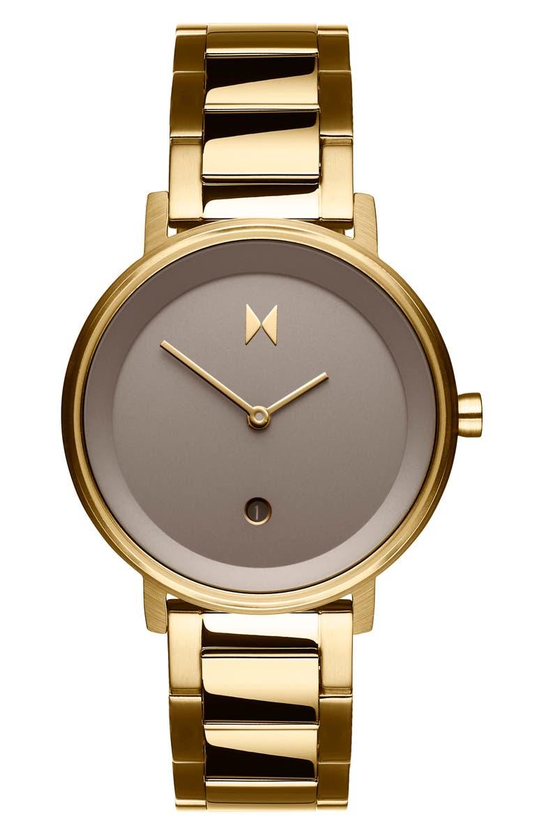 MVMT Signature Bracelet Watch, 34mm, Main, color, GOLD/ TAUPE/ GOLD