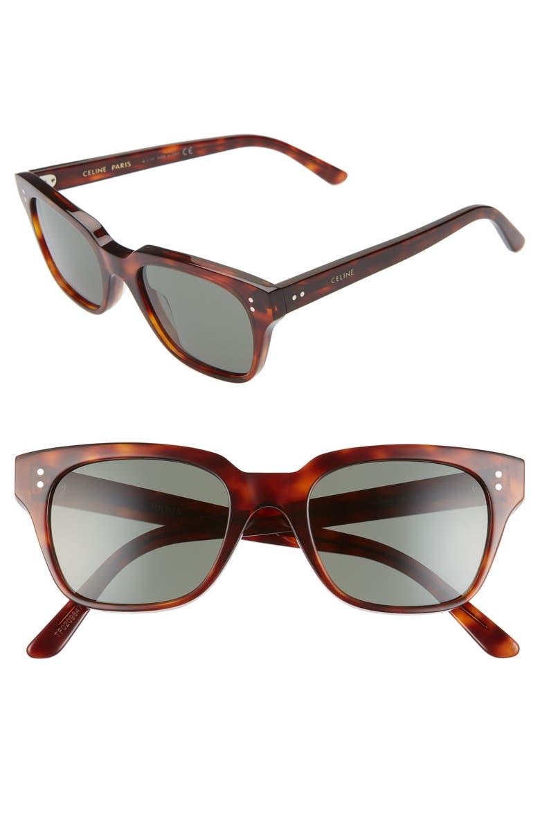 CELINE 51mm Rectangle Sunglasses, Main, color, RED HAVANA
