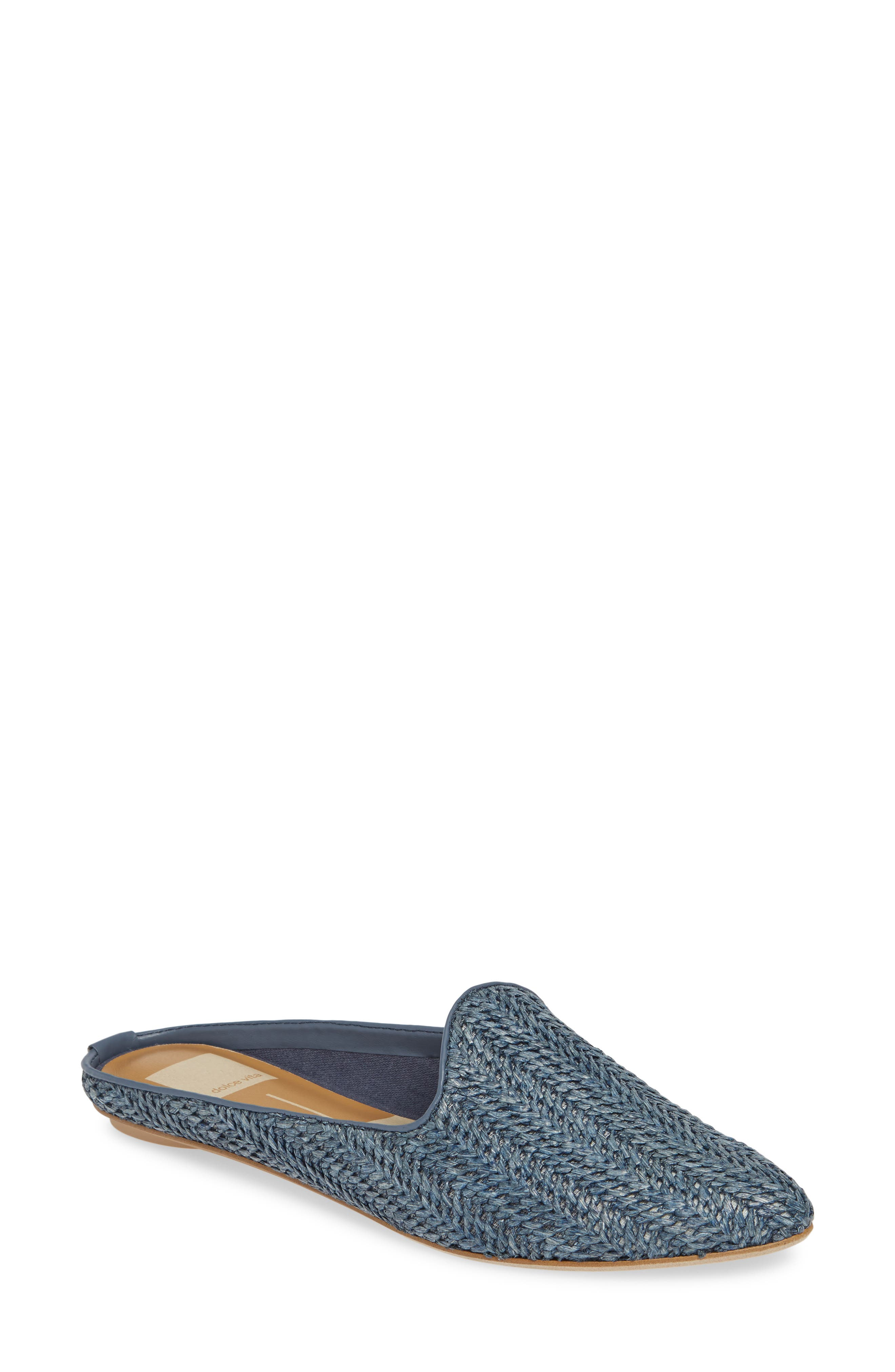 Dolce Vita Grant Woven Flat Mule, Blue