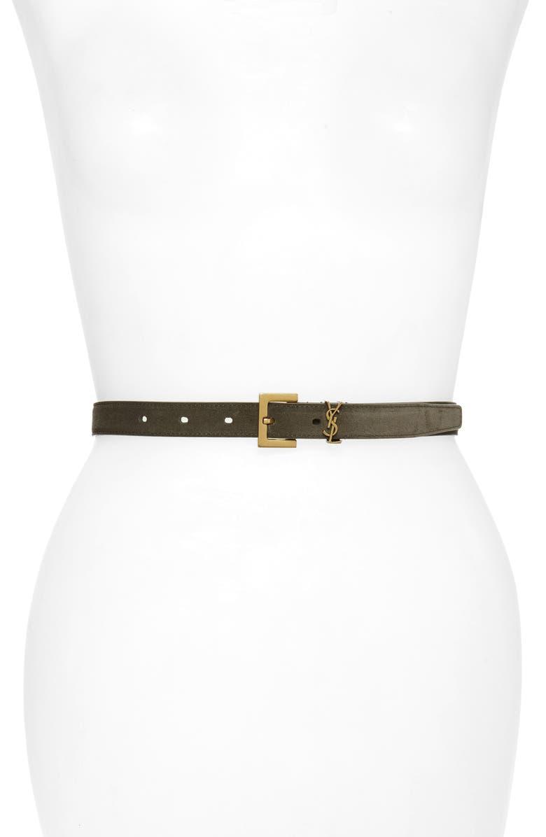 SAINT LAURENT YSL Logo Skinny Suede Belt, Main, color, PEBBLE