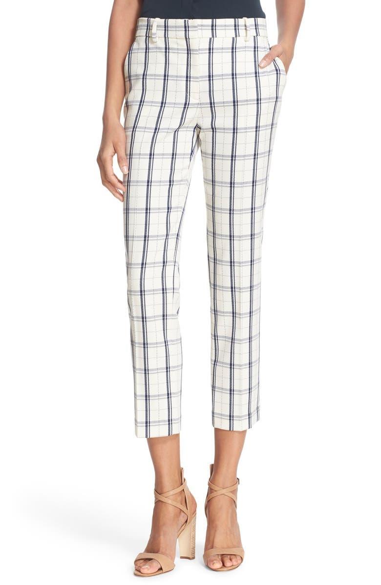 THEORY 'Treeca' Check Stretch Wool Crop Pants, Main, color, 901