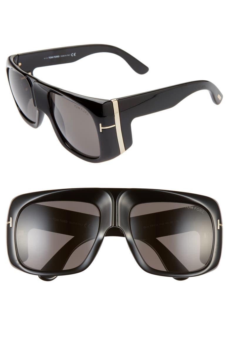 TOM FORD Gino 60mm Aviator Sunglasses, Main, color, SHINY BLACK/ SMOKE
