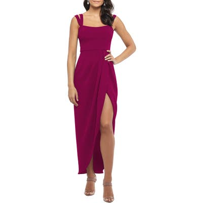 Xscape Side Ruched Double Strap Crepe Gown, Regular - Pink