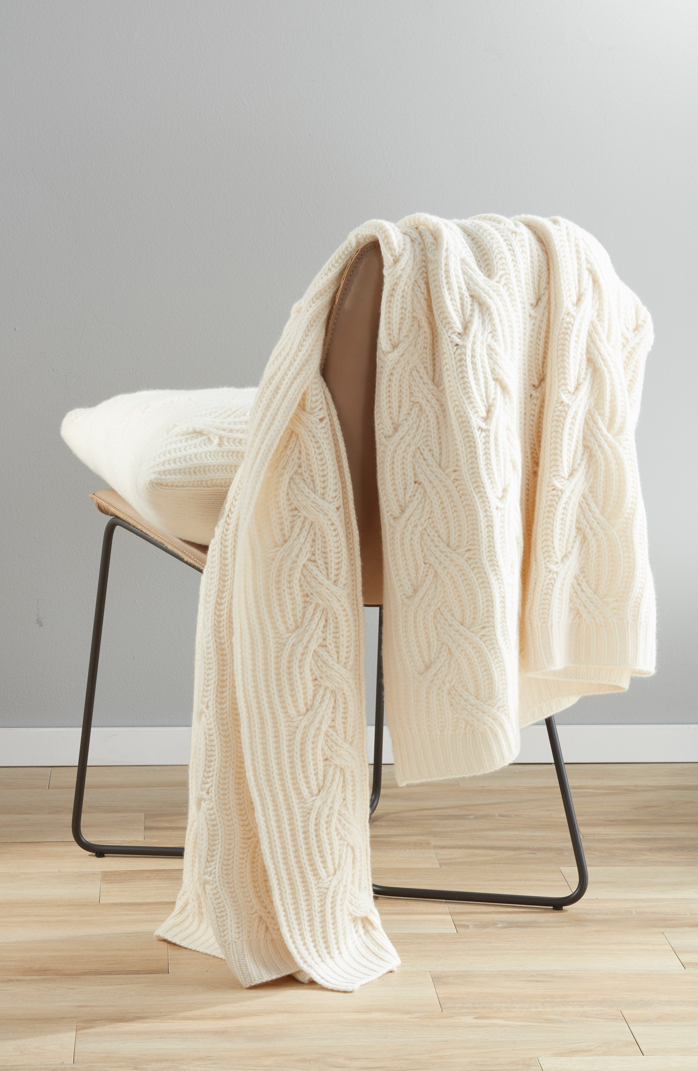 ,                             Cable Knit Cashmere Throw,                             Alternate thumbnail 3, color,                             IVORY