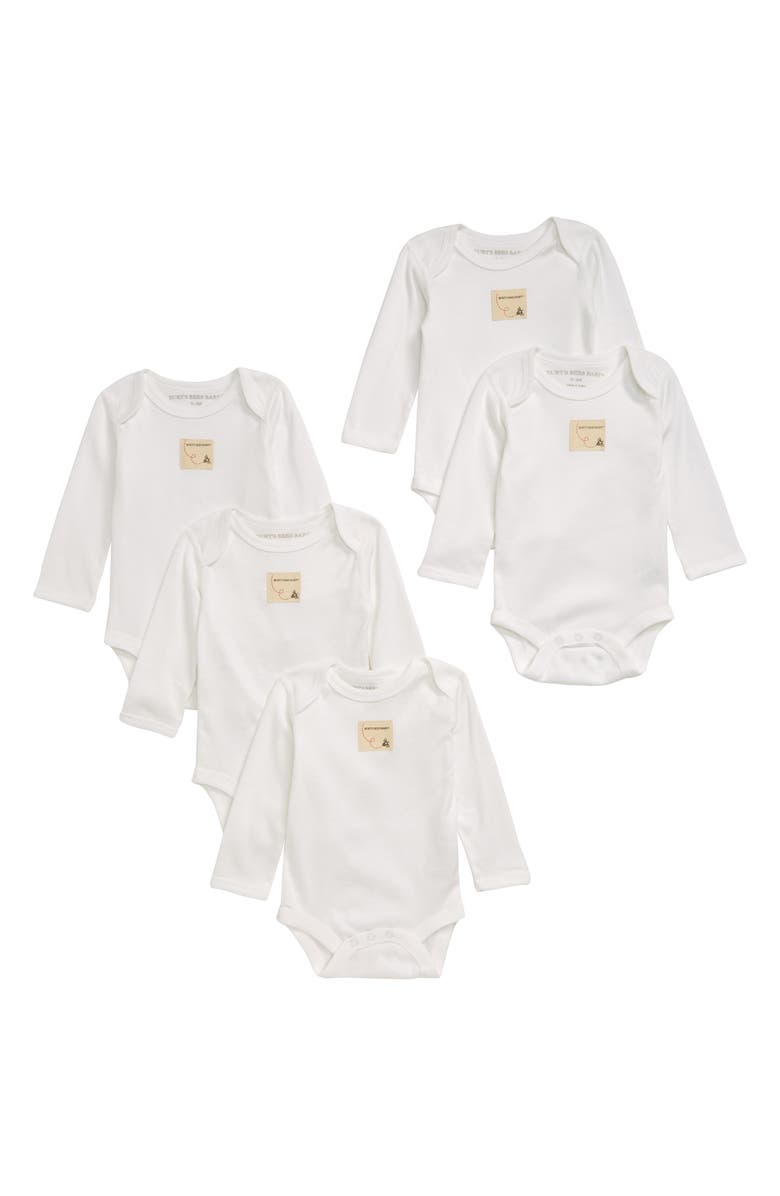 BURT'S BEES BABY 5-Pack Organic Cotton Bodysuits, Main, color, 101