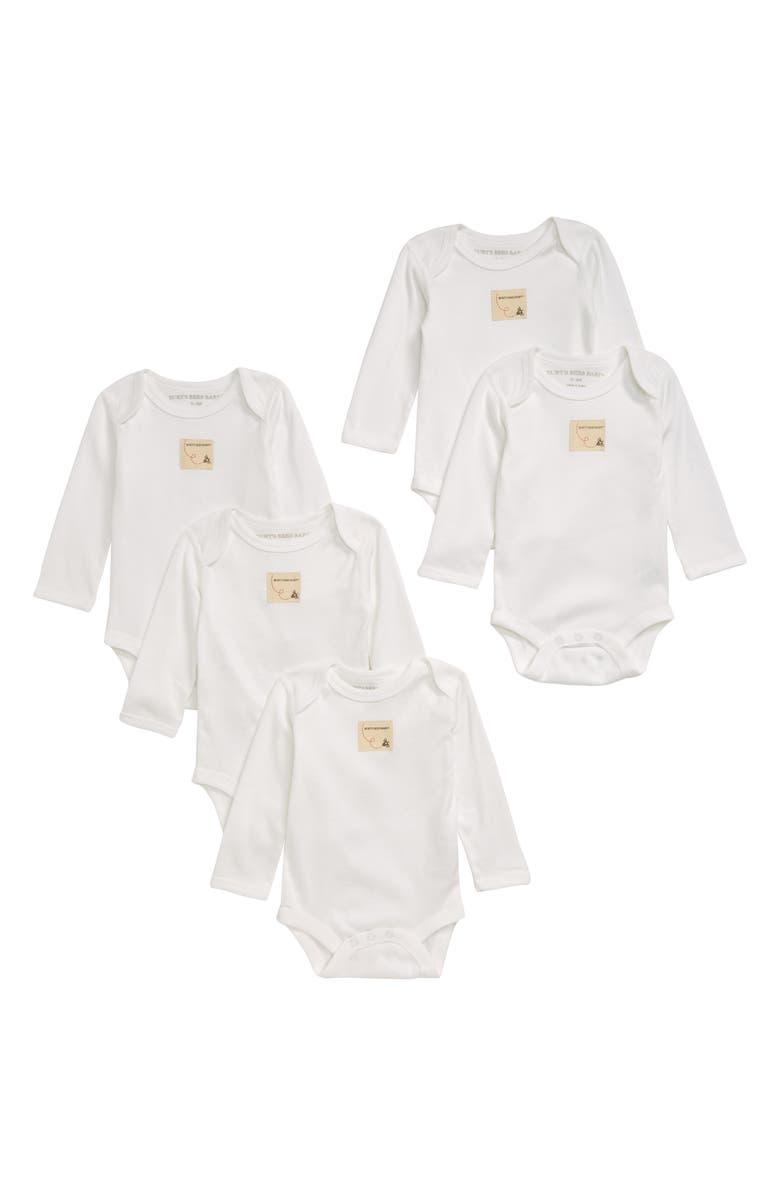 BURTS BEES Burt's Bees Baby 5-Pack Organic Cotton Bodysuits, Main, color, CLOUD/ WHITE