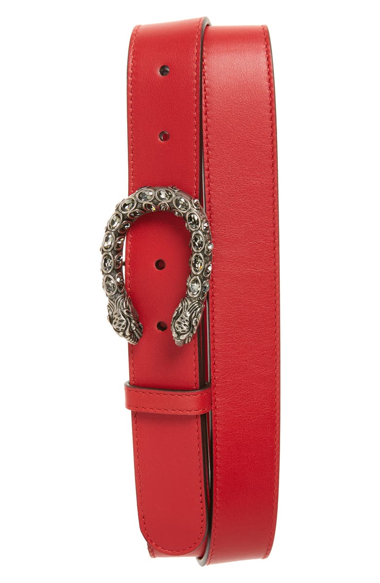 GUCCI Dionysus Crystal Leather Belt, Main, color, HIBISCUS RED/BLACK DIAMOND
